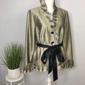 Adrianna Papell Evening Jacket Gold Elegant Belted